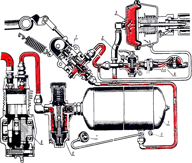Тормозная система МТЗ; вал стояночного тормоза, вилка тяги.