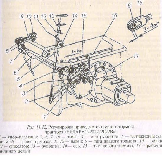 регулировка привода стояночного тормоза трактора Беларус