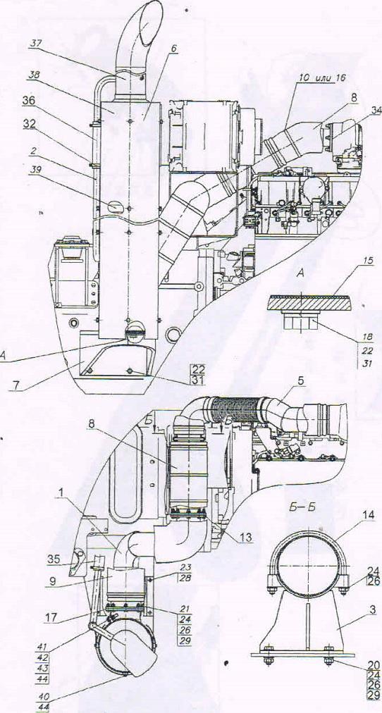 установка глушителя МТЗ